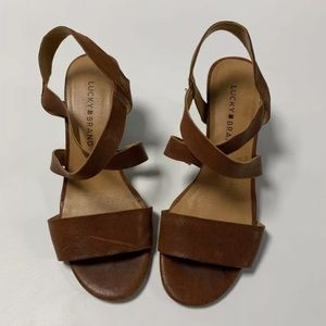 Lucky Brand Brown Leather Elastic Wedge Sandal 7.5